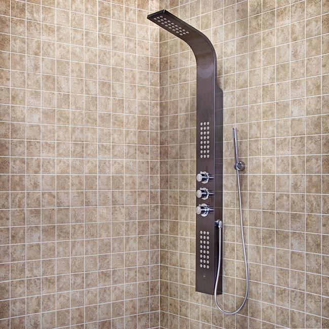 gunmetal shower panel with rain head massage system