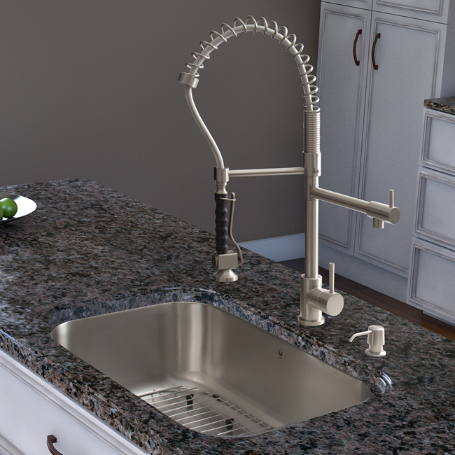 charming Stainless Steel Kitchen Faucet With Pull-Down Spray #2: Stainless Steel Pull-Down Spray Kitchen Faucet. Zoom. Previous; Next