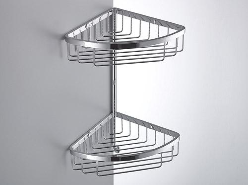 Double Corner Shower Basket with Hook B9617. single corner basket with hook