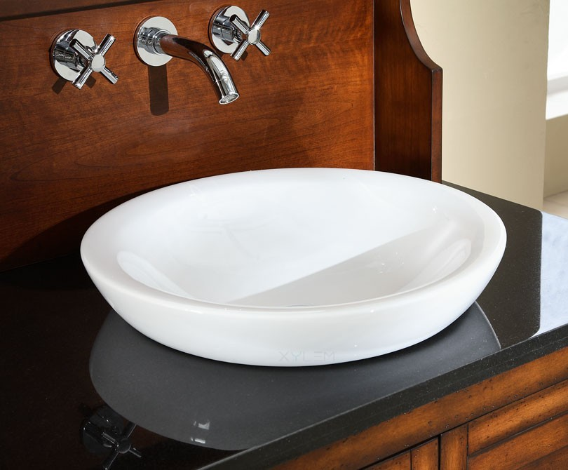 Great Round Semi Recessed Ceramic Bathroom Sink. Zoom