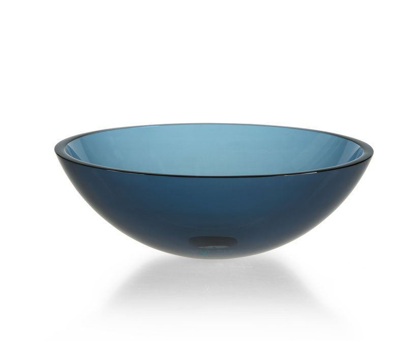 Sink Glass : Home > Sinks > Clear Blue Glass Vessel Sink
