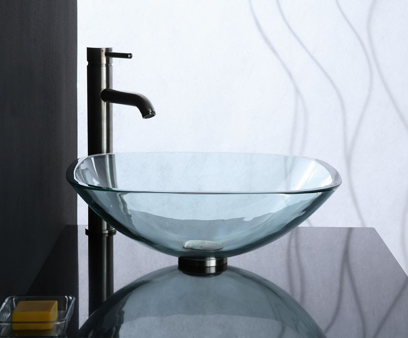 Square Glass Vessel Sink : Home > Bath > Clear Transparent Square Glass Vessel Sink