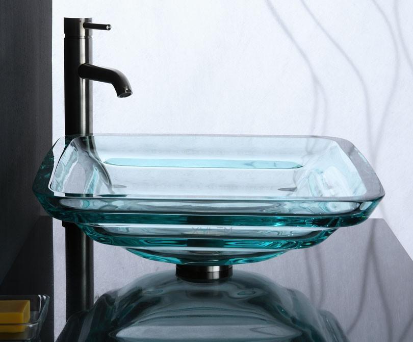 Home > Bath > Clear Square Glass Vessel