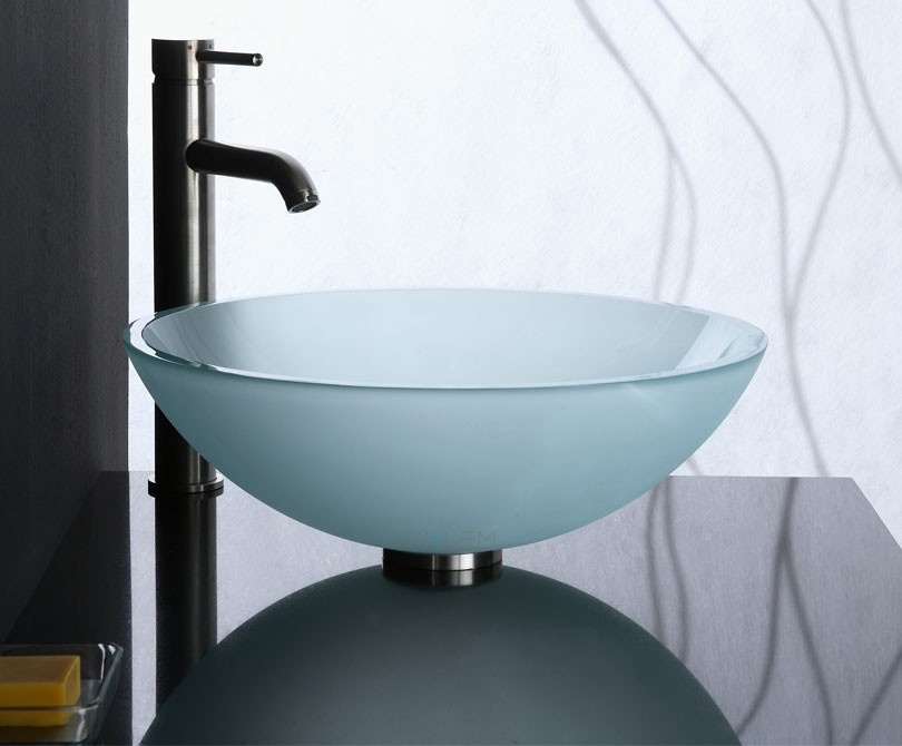 Sink Glass : Home > Sinks > Frosted Glass Vessel Sink