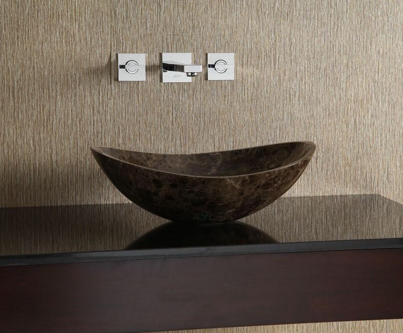 dark emperador oval stone vessel sink zoom previous next - Stone Vessel Sinks