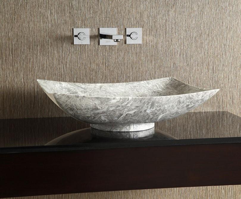 Grey Stone Sink : Home > Bath > Grey Marble Rectangular Stone Vessel Sink