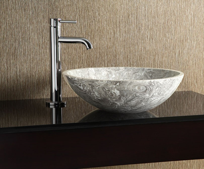 Marble Sink : Home > Bath > Grey Marble Round Stone Vessel Sink