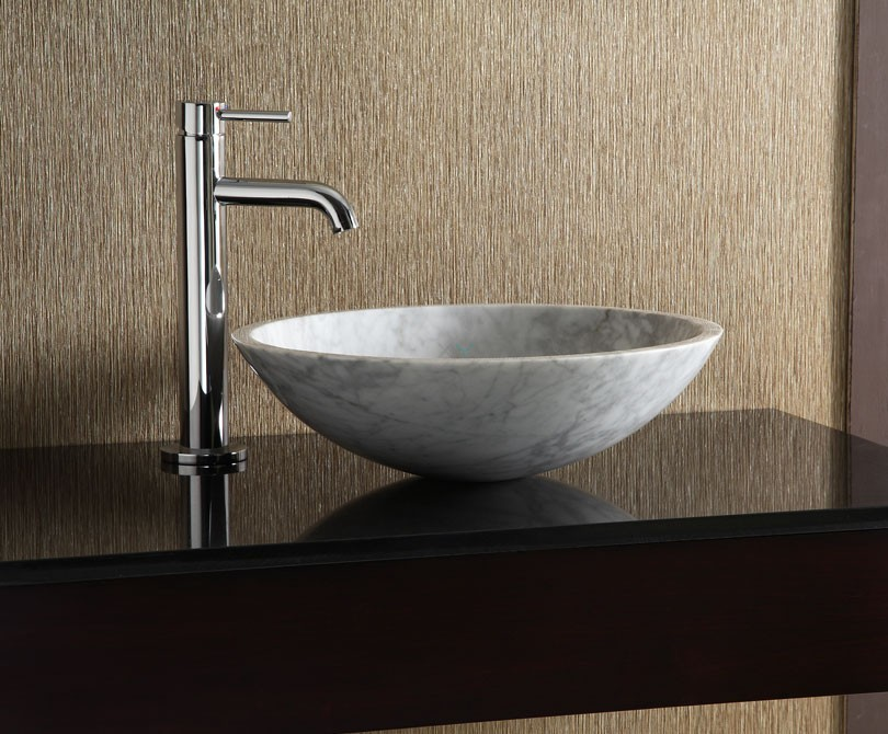 Home > Bath > White Carrara Marble Round Vessel Sink