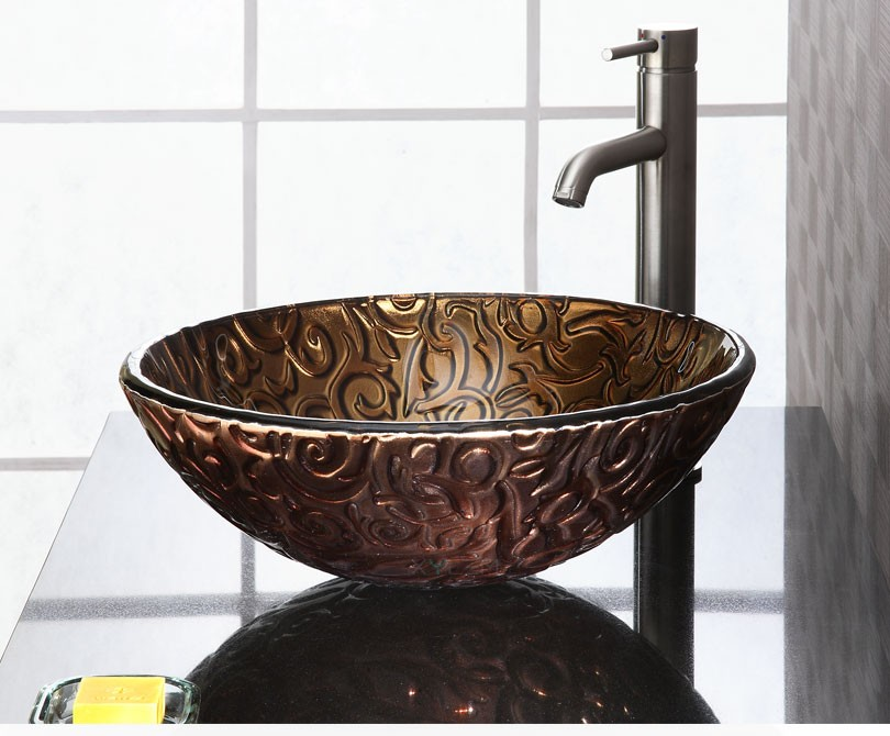 Home Sinks Metallic Brown Copper Vine Bathroom Vessel Sink