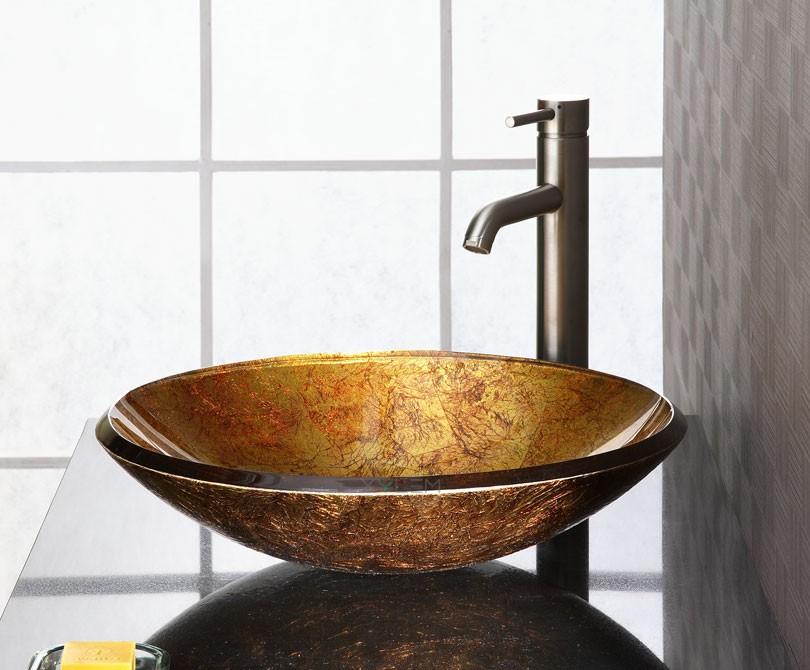 Small Glass Vessel Sinks : Home > Sinks > Reflex Metallic Gold Vessel Sink