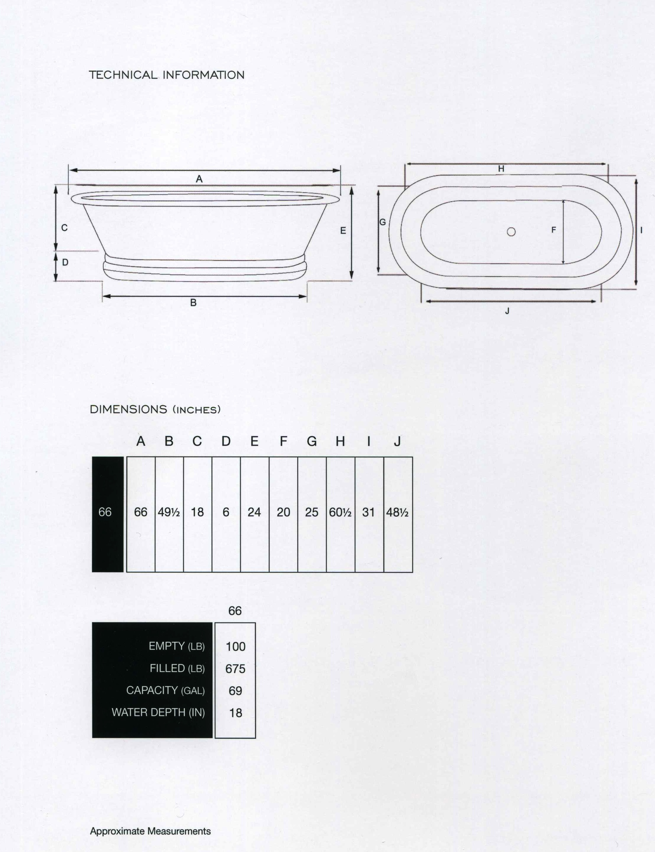 Copper Freestanding Tub  Inches - Free standing tub dimensions